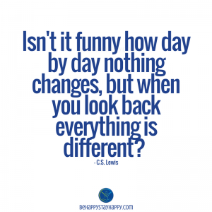 Isn't it funny how day by day nothing changes, but when you look back everything is different?